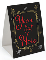 custom printed holiday table tent with red text