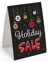 "Table tent with ""Holiday Sale"" with chalkboard look theme"
