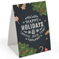 """Happy Holidays"" table tent for retail with chalkboard feel theme"