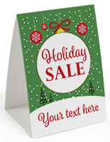 """Holiday Sale"" promotional table tent with optional custom text field"