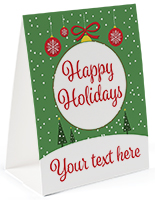 Happy Holidays table tent with personalized text option