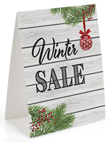 """Winter Sale"" table tent with interlocking base"