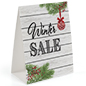 """Winter Sale"" table tent with retail messaging"
