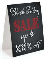 "Table tent for ""Black Friday"" with chalkboard background"