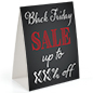"Table tent for ""Black Friday"" with red and white text"