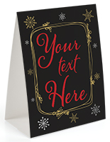 Custom text holiday table tent for seasonal retail