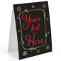 Custom text holiday table tent with your own messaging