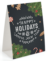 Happy holidays chalkboard printed table tent with trendy design