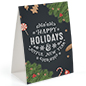 Happy holidays chalkboard printed table tent with festive design