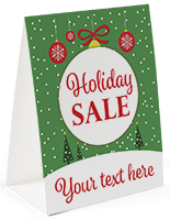"""Holiday Sale"" paper table tent with custom text option"