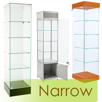 Narrow cabinets in a number of styles and finishes