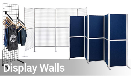 Freestanding display walls for hanging signs, brochures, art, and merchandise