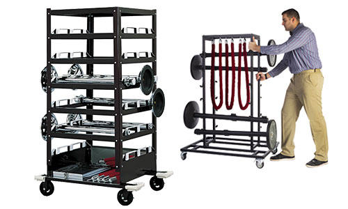 Utility carts and racks for delivering trade show supplies