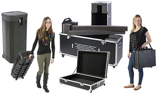Padded cases and crates for transporting trade show supplies