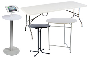 Portable tables for trade shows and other events