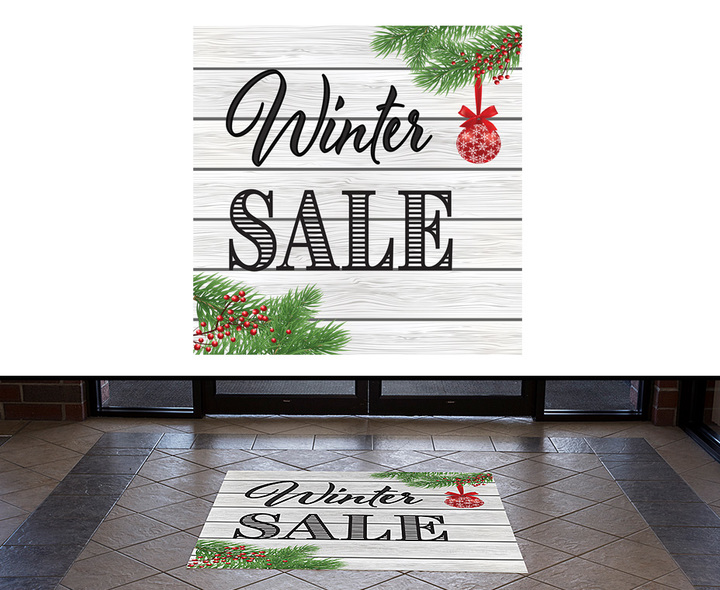 Traditional holiday floor decals and window clings