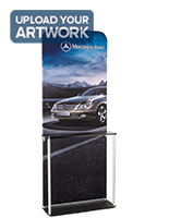 Banner Frame Counter Kiosk with Labeled Poles