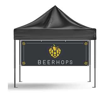 Custom printed canopy tent and sidewalls for outdoor events.