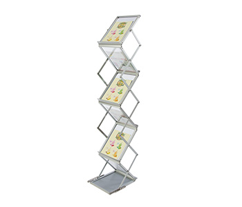 Collapsible brochure and literature display rack.
