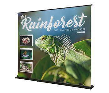 Retractable backdrop banner with custom printed graphics.