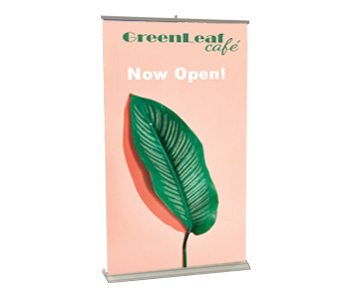 Custom printed retractable banner stand with silver base.