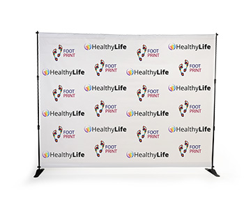 Step & repeat banner with custom printed graphics.