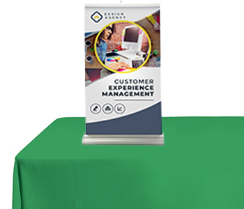 Custom printed table banner stand on display.