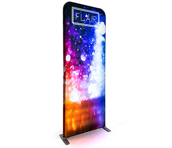 Tension fabric banner stand with impressive imagery.