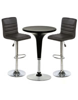 Black Gas Lift Chair and Table Set, 3-Pieces