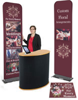 Economy banner display booth kit with iPad holder