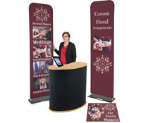 Economy banner display booth kit with pop-up counter
