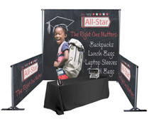 Custom pipe and drape booth kit with full color graphics