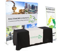 Banner and tabletop trade show package with 8'w backdrop