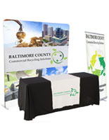 Banner and tabletop trade show package with black cover