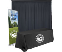 Economy exhibit booth furniture kit with 10'w backdrop