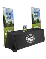 Pop up banner trade show kit with custom-printed graphics