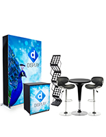 Trade show display kit with 5ft wide backlit wall and custom printed SEG graphics