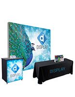 10' trade show booth kit with SEG backwall and counter plus printed tablecover and acrylic literature holders