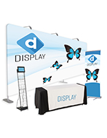 20' trade show package with custom printed backwall and banner plus digital screen lit holder