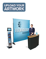 Step and repeat promo booth kit includes portable counter with literature rack and LCD screen