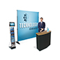 Step and repeat promo booth kit with LDC screen for digital media