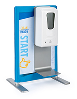 Mounted table banner sanitizer station with stock graphic
