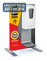 Tabletop sanitizer dispenser with banner and aluminum frame