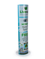 "60"" UV printed floor totem display standee"