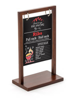 Brown 5 x 7 2-hole tabletop menu display
