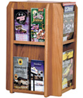 Revolving Wood Magazine Rack with Medium Oak Finish