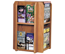 Revolving Wood Magazine Rack with 8 - 16 Pockets