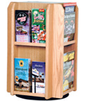 Wooden Literature Holder with Adjustable Pockets