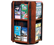 Rotating Wooden Literature Holder with Mahogany Stain