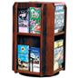 Rotating Wooden Literature Holder with Adjustable Pockets